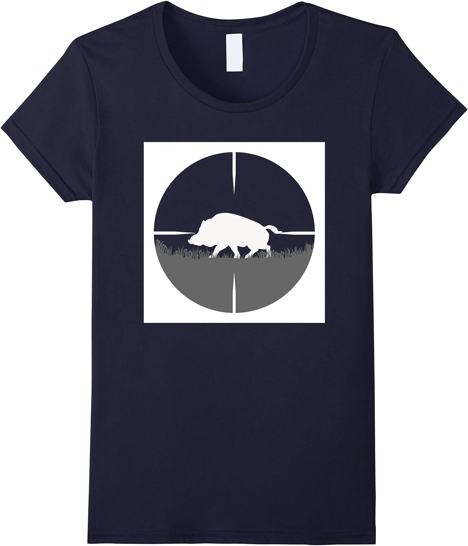 Silueta de jabalí cazador del Rifle Vista Hog caza camiseta azul marino X-Large: Amazon.es: Ropa y accesorios