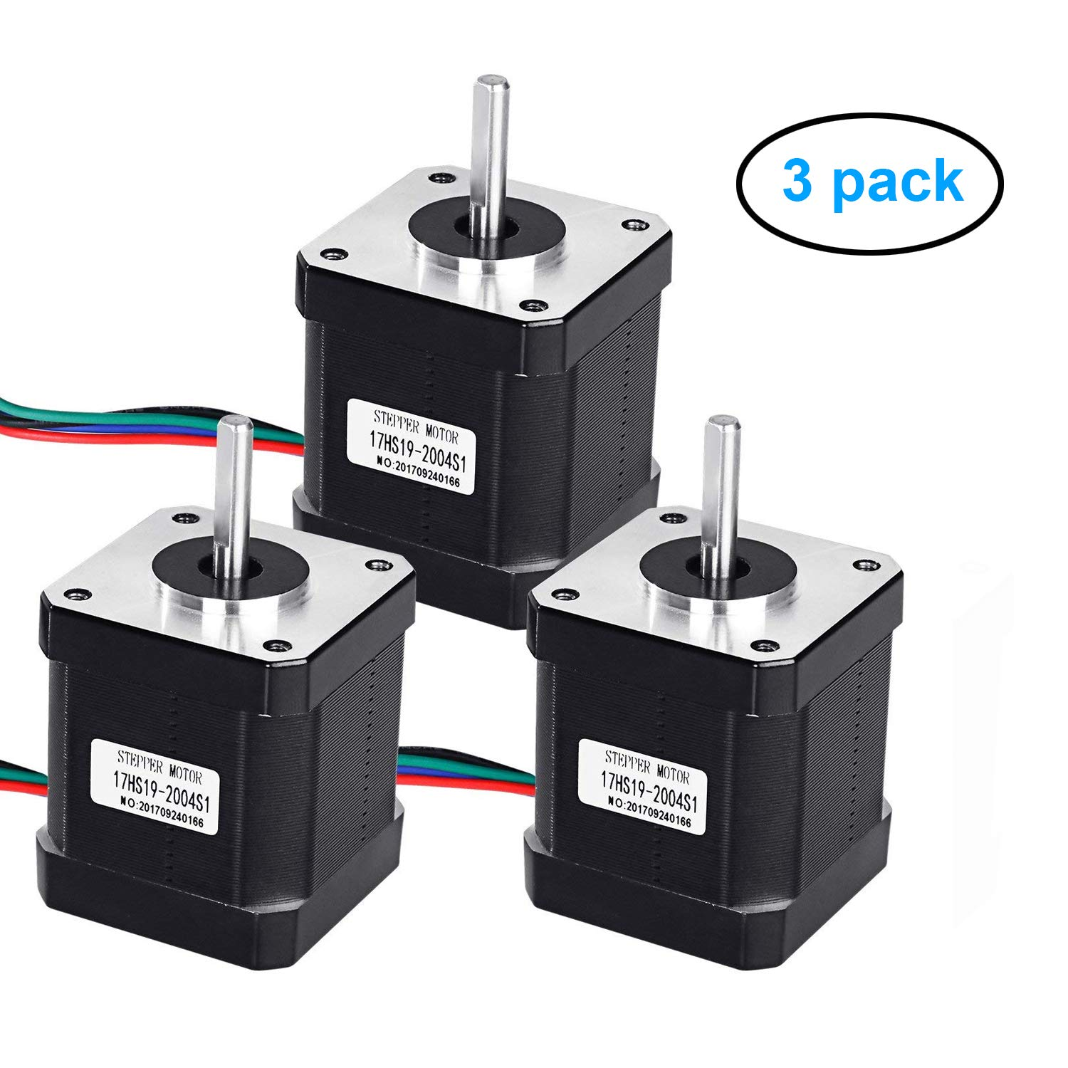 3 Pack Nema 17 Stepper Motor, craftsman168 2A 59Ncm(83.6oz.in) 48mm Body 42 Motor with 1m 4-lead Cable & Connector for 3D Printer/CNC Machine