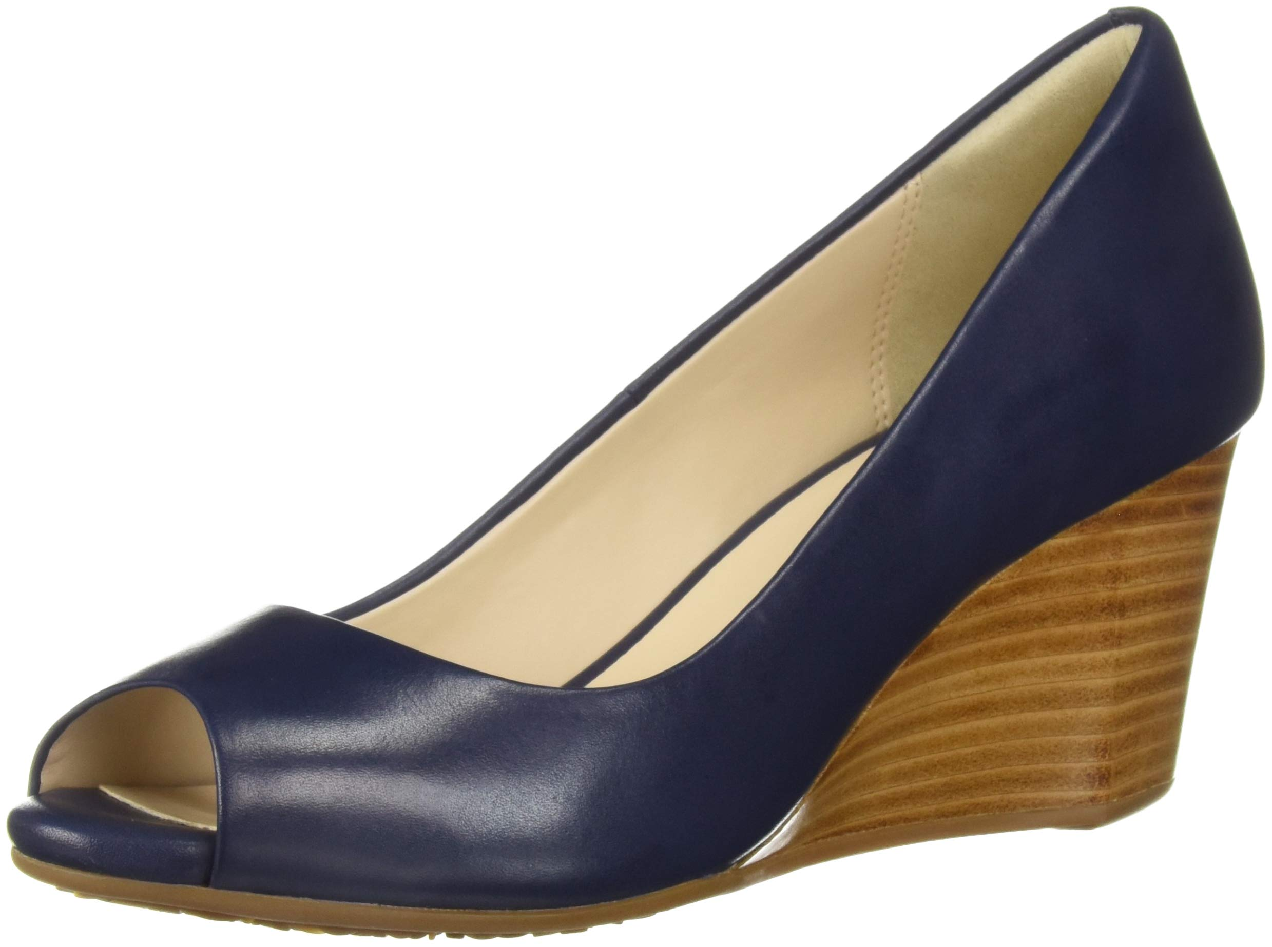 e5b75a5e8 Galleon - Cole Haan Women's Sadie OT Wedge 65MM Pump Marine Blue Leather 11 B  US