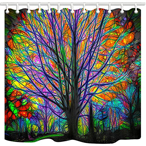 NYMB Creative Trees Decoration Bath Curtain, Colorful Watercolor Spring Life Tree Shower Curtain, Life of Tree Fabric Shower Curtains for Bathroom, 69X70in, Hooks Included (Curtain Tapestry Shower)
