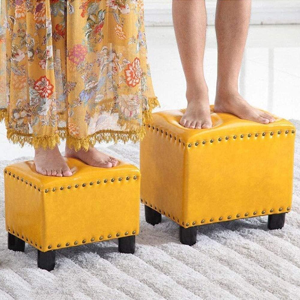 TUTU Quadratischer Leder Ottoman Fußschemel,Vintage gepolsterte Nieten Fußstütze Hocker Massivholz Schuh Wechselhocker Sitzrot (Farbe:C Größe:Groß) Navy