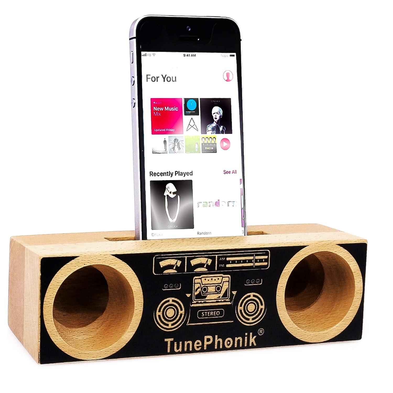 TunePhonik - Soporte para Smartphone (Madera de Haya, Amplificador ...