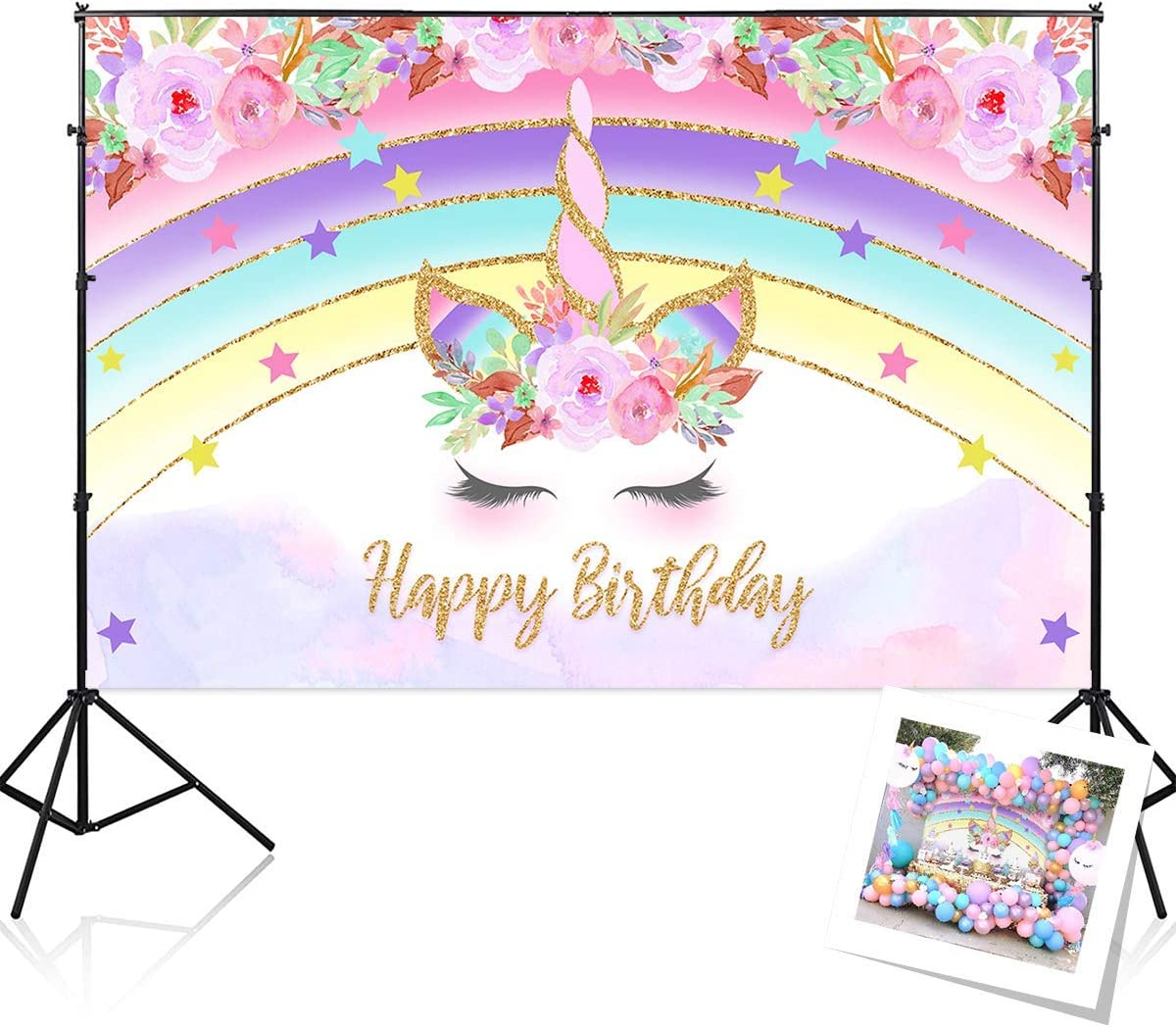 RAUBAY Purple Rainbow Unicorn Birthday Party Backdrop Decorations Supplies Floral Banner for Girls Baby 1st - 5x3ft