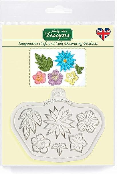 Katy Sue Designs Stylised Flowers Molde de silicona para decoración de tartas, manualidades, magdalenas, dulces, tarjetas y arcilla, apto para alimentos, fabricado en el Reino Unido, Gris: Amazon.es: Hogar