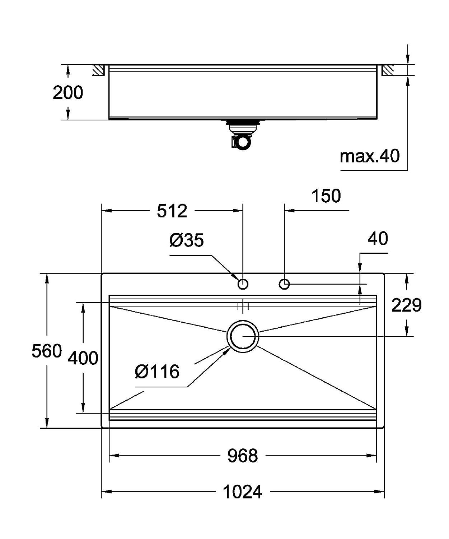 Fregadero de acero inoxidable con escurridor Grohe K400