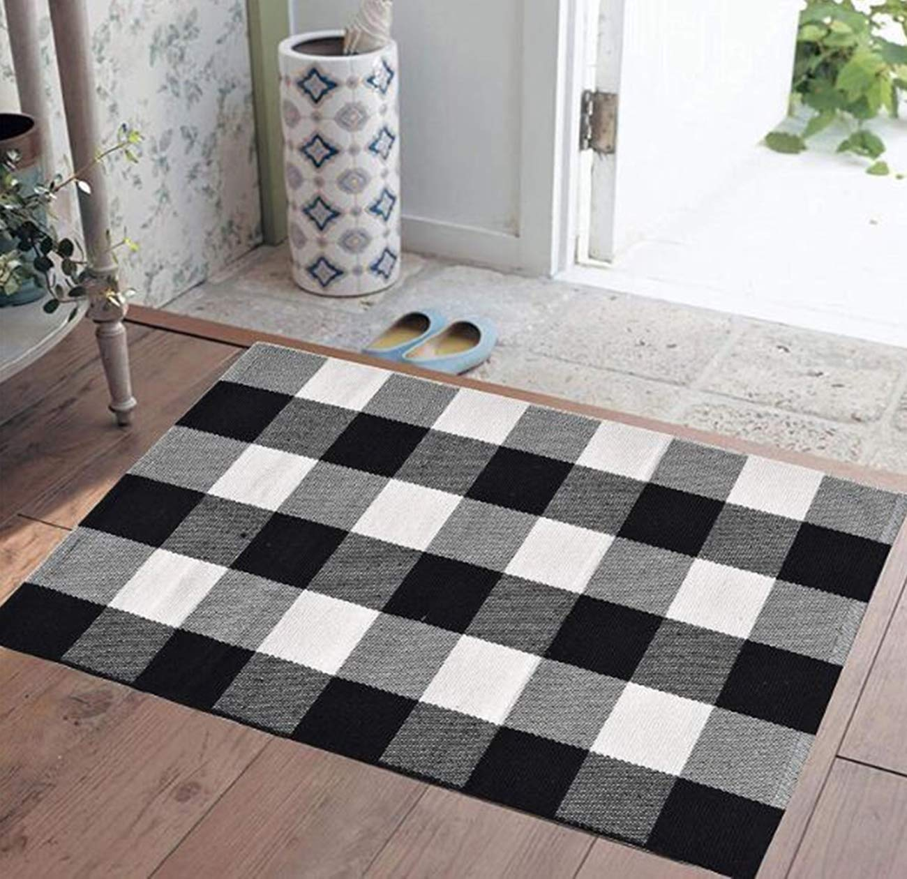 Buffalo Plaid Rug Indoor Outdoor Buffalo Check Rug, Farmhouse Rugs for Doorway Kitchen/Bathroom/Front Porch/Decor - Layered Welcome Plaid Rug Doormats (24