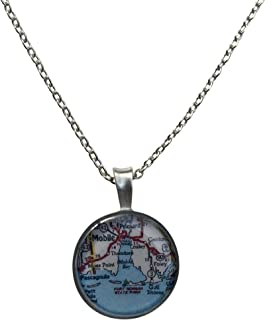product image for Chart Metalworks Mobile Bay Necklace - Map of The Alabama Gulf Coast Area in Pewter on 18 Inch Chain with ¾ Inch Pendant