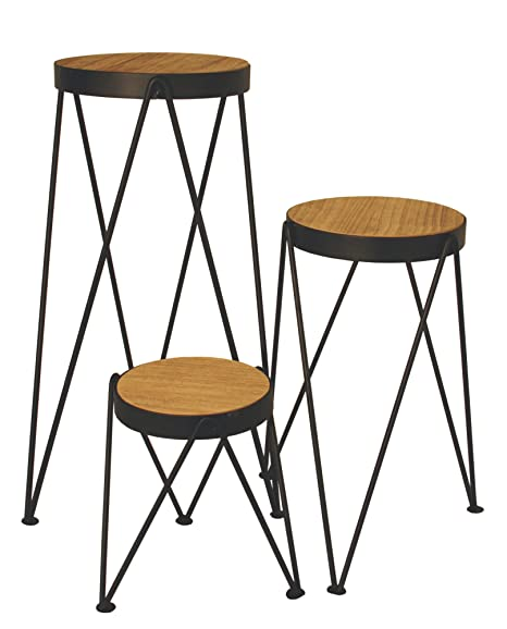 Marymarygardens Set Of 3 Metal Wire Natural Wood Effect Nesting Occasional Tables Plant Stands