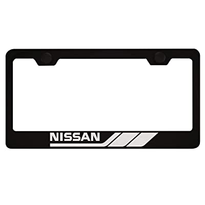 Fit Nissan Matt Black Liecnese Plate Frame with Caps: Automotive
