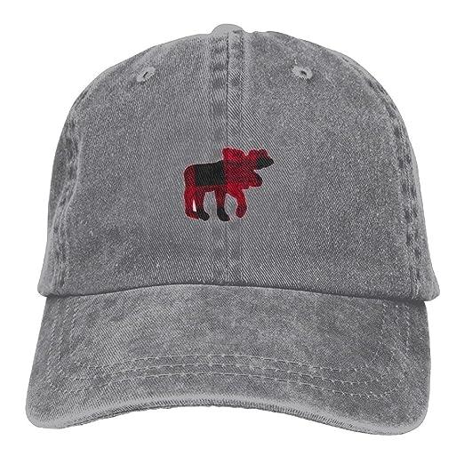 1710f52d8b5 Jusxout Buffalo Plaid Red Black Moose Cool Unisex Adjustable Baseball Cap  Dad Hat