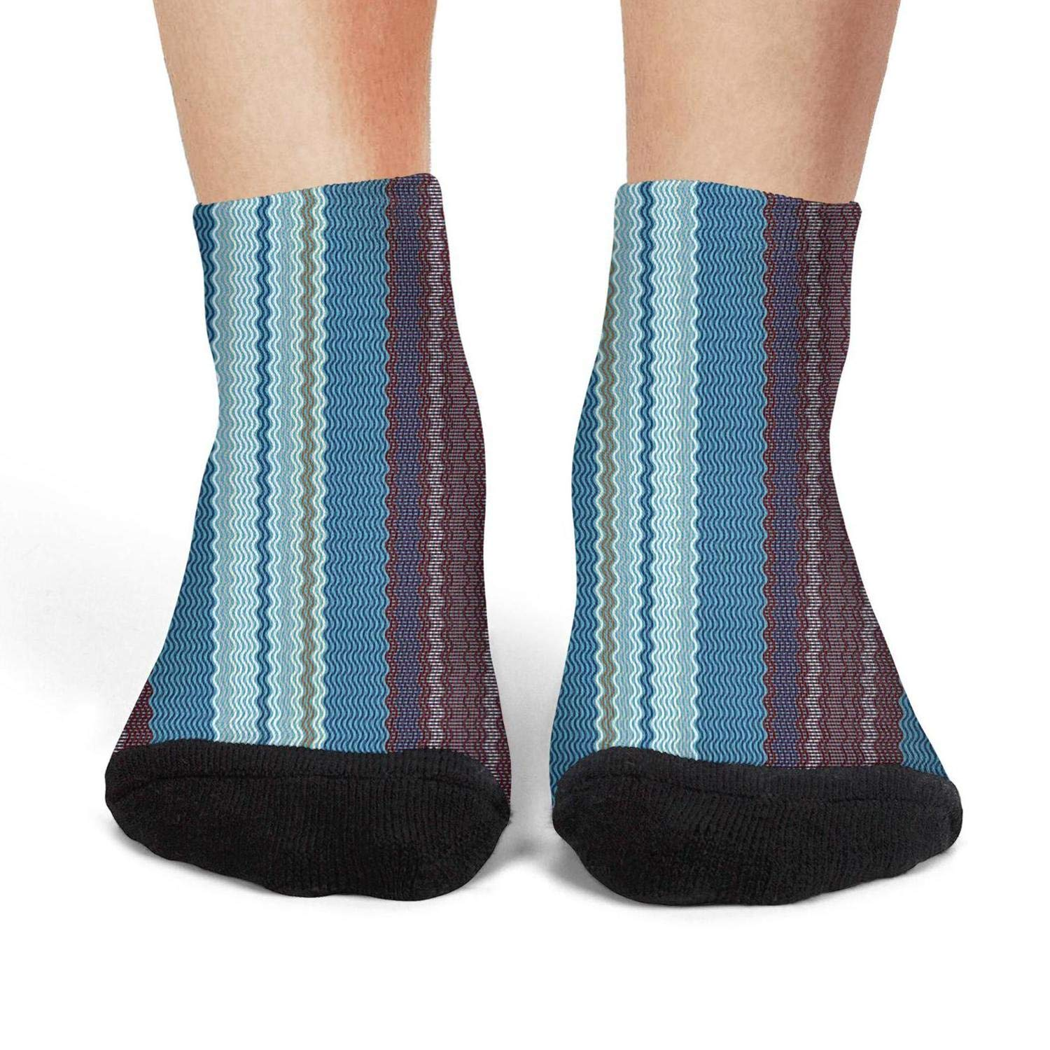 Mens low cut athletic Ankle sock Stripe Texture wave Breathable Short Sock