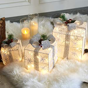 EAMBRITE Set of 3 48LT Christmas Glittering Gift Boxes Lighted with Bows Present Boxes for Christmas Tree Weddings Yard Home Holiday Art Decorations (White and Silver)