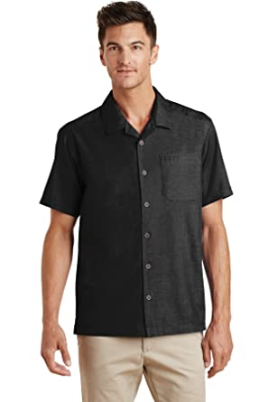 09946ebf Port Authority Men's Textured Camp Shirt at Amazon Men's Clothing store: