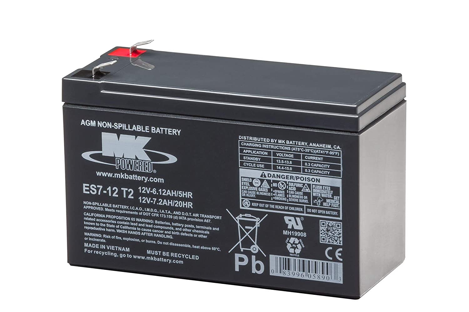 MK Battery ES7-12 T2 Maintenance-Free Rechargeable Sealed Lead-Acid Battery