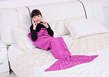 OUYAJI Childre Baby Knitted Mermaid Tail Throwing Sofa Blanket Autumn and  Winter Kids Wram Sleeping Bag 4c69128d5