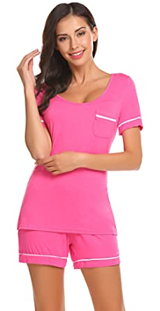 21d2002e34e36d Sweetnight Women's Sleepwear Short Sleeve Pajama Set with Pj Shorts Modal  Nightwear (XL, Rose