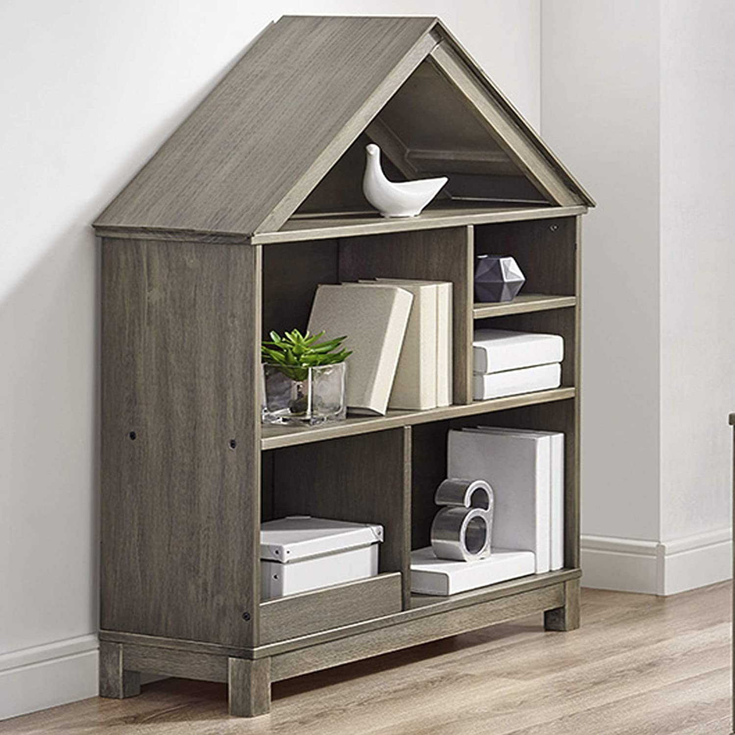 Classic Brands Sam & Jack Kids House Syle Solid Wood Bookcase, Weathered Grey