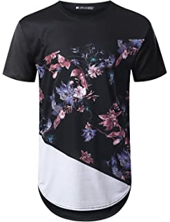 30ee1d43 URBANTOPS Mens Hipster Hip Hop Floral Graphic Longline T-Shirt (Various  Styles)