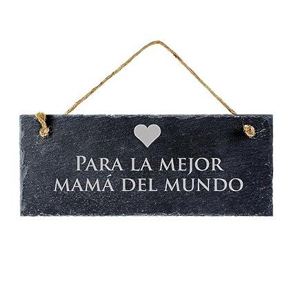 Casa Vivente – Pizarra con Grabado – para la Mejor Mamá del Mundo – con Colgador de Pared – Obsequios para Mujeres – Regalos Originales ...