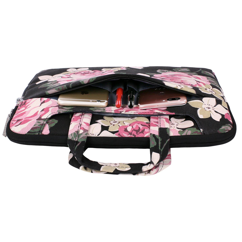 MOSISO Bolsa de Hombro Compatible con 13-13.3 Pulgadas MacBook Air//MacBook Pro Retina//2019 Surface Laptop 3//2018 Surface Book 2 Funda Protectora Rose Patr/ón Malet/ín Bandolera Rosa