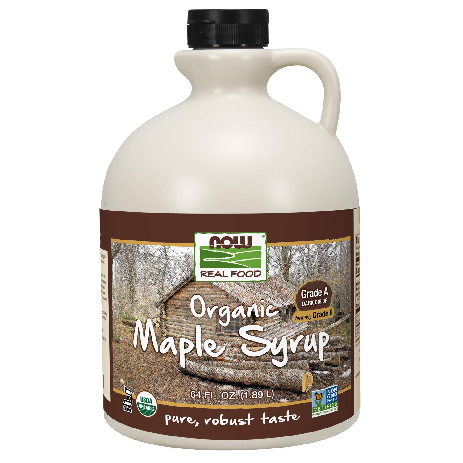 NOW Foods, Certified Organic Maple Syrup, Grade A Dark Color, Certified Non-GMO, Pure, Robust Taste, 64-Ounce
