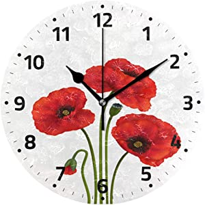 Wamika Poppy Flowers Wall Clock Battery Operated Non Ticking Silent Round Acrylic Red Flowers Quartz Decorative Clocks for Home Office Kitchen School Easy to Read