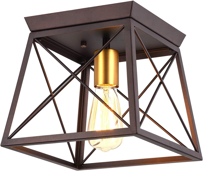 Pauwer Industrial Flush Mount Ceiling Light Square Metal Cage Chandelier Oil Rubbed Bronze Vintage Rustic One Light Flush Mount Ceiling Light Fixture