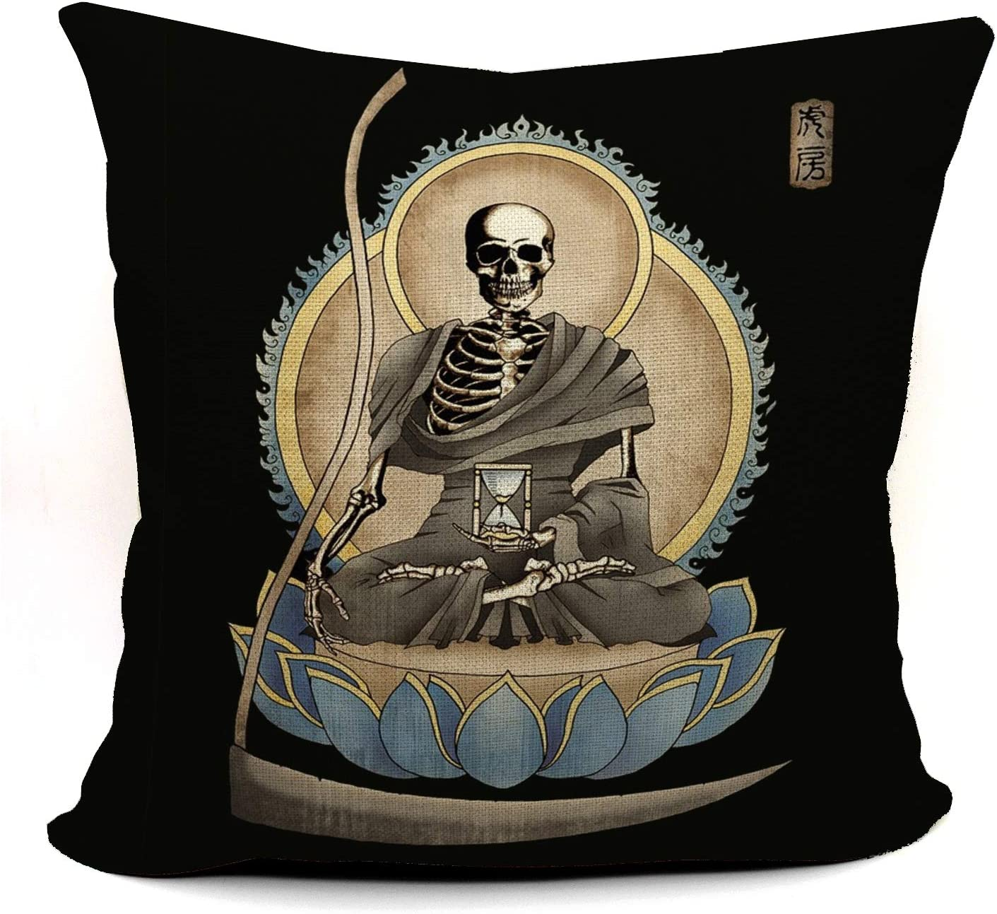 The Grim Reaper Memento Gothic Macabre Art Throw Pillow Case, Gift for Daughter, Sister, Wife, Meditation Corner Decor, Gothic Home Decor,18 x 18 Inch Linen Cushion Cover for Sofa Couch Bed