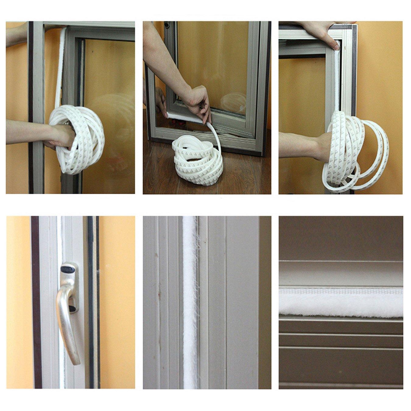 UOOOM 5m Windproof Dustproof Door Window Seal Stripl Self Adhesive Brush Strip 9x5mm
