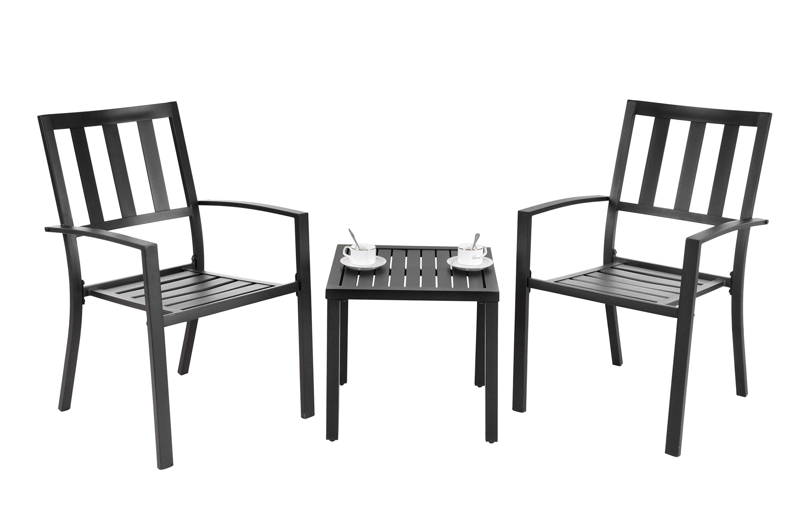 EMERIT Outdoor Metal Square Patio Bistro Side End Table,Black by EMERIT (Image #4)