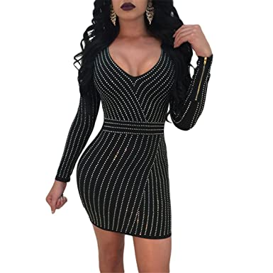 ce04c615c3a8 Fashion Cluster Women's Sexy Deep V-Neck Long Sleeve Hot Fix Bodycon Party  Club Mini Dress at Amazon Women's Clothing store: