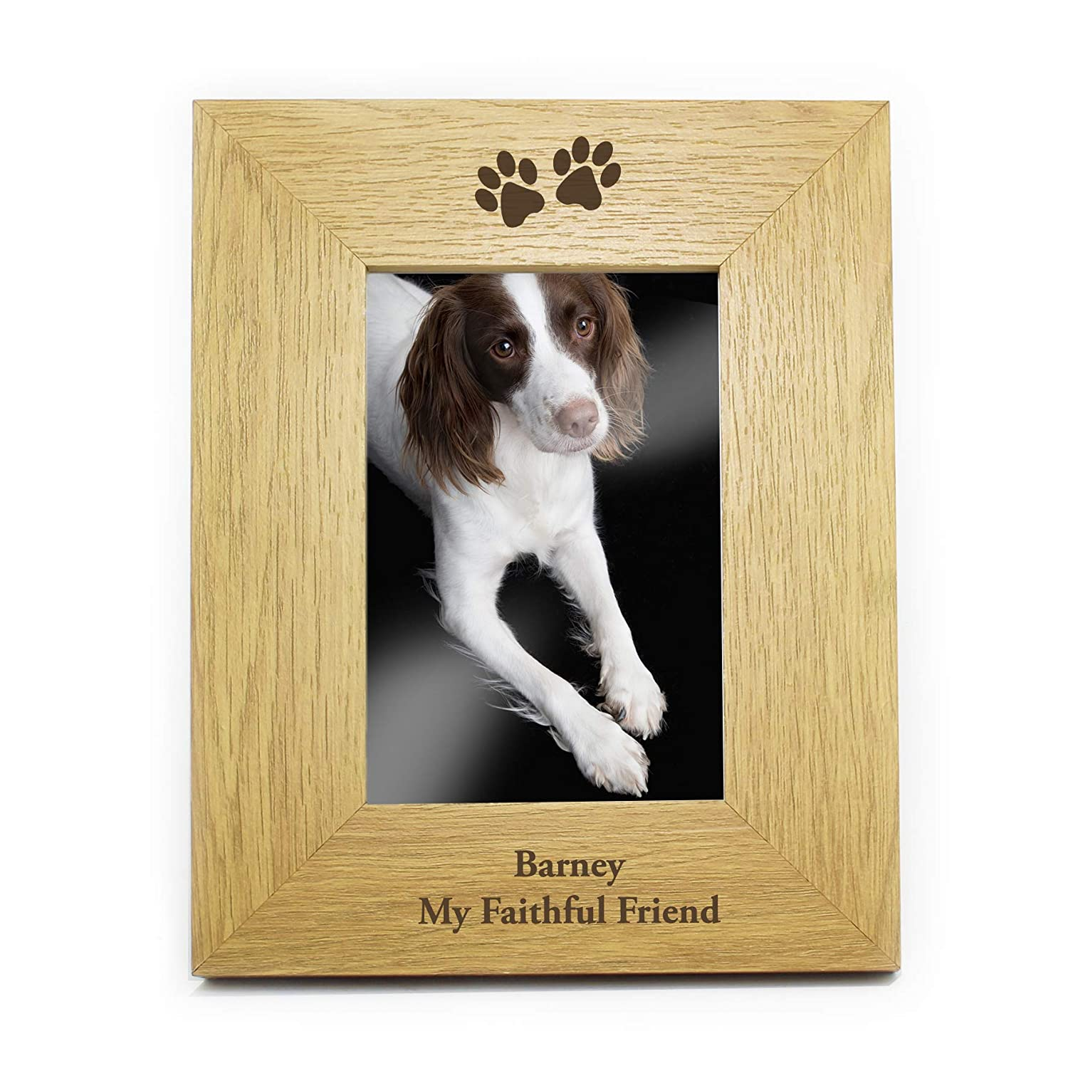 6x4 Oak Paw Prints Photo Picture Frame Personalised Present Gift Personalised Memento