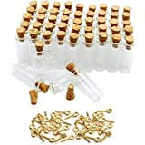 JKLcom 1ML Small Mini Tall Clear Glass Bottles/Jars with Corks Stoppers for Arts & Crafts, Projects, Decoration, Party Favors+ 50 Pcs Gold Metal Eye Hook Pin Screws,50 Pcs