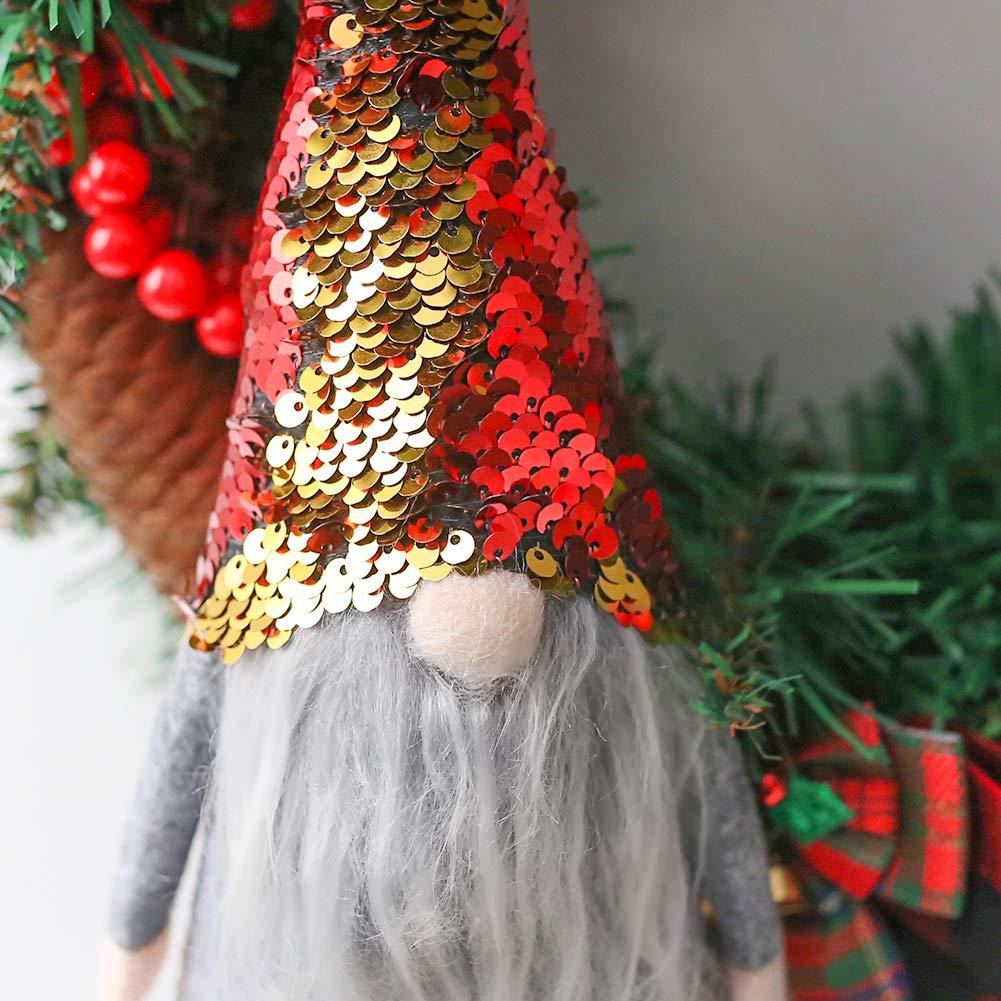 FuturePlusX Swedish Santa Gnome Plush, 1PCS Double Sequins Scandinavian Tomte Santa Scandinavian Gnome Plush for Christmas Santa Decoration Table Decor