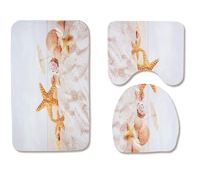 SonMo 2 St/ück Toiletten-Abdeckung Wc-Deckel WC Vorleger mit Ausschnitt Polyester Waschbar Anti-Bakteriell Anti-Schimmel Strand Seestern Wei/ß