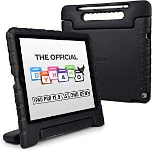 Cooper Dynamo [Rugged Kids Case] Protective Case for iPad Pro 12.9 1st 2nd Generation 2015 2017   Child Proof Cover with Stand, Large Handle (Black)