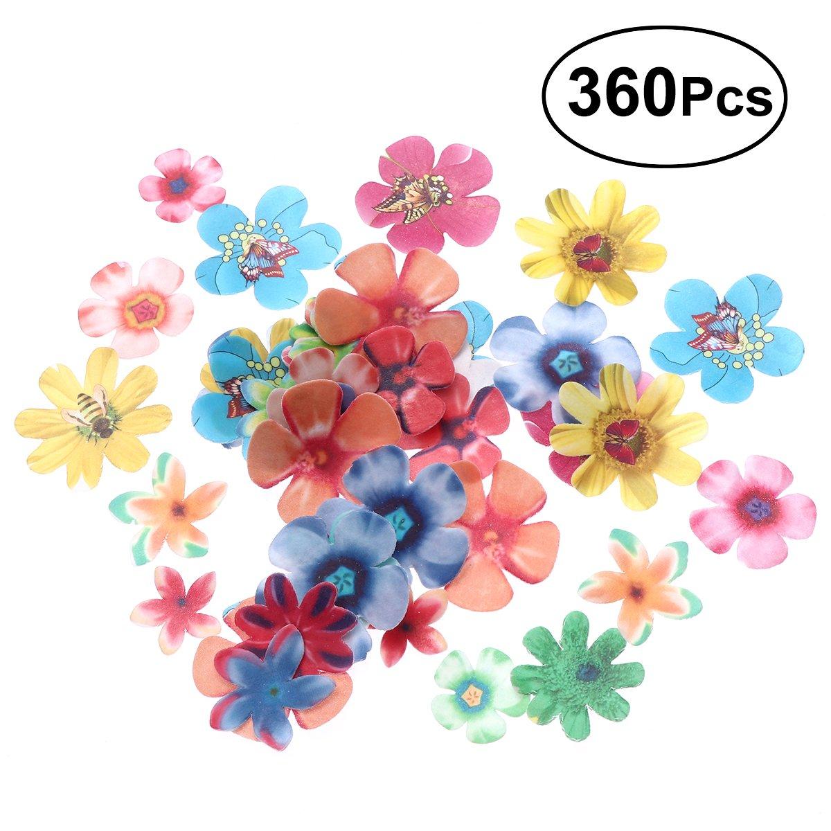 BESTONZON 360pcs carino fiori commestibili cupcake toppers adatto per torta nuziale festa di compleanno decorazione cibo (spessore 0, 65 mm)
