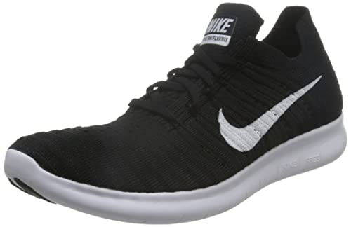 NIKE Mens Free RN Flyknit Running Shoes, (BlackWhite), ...