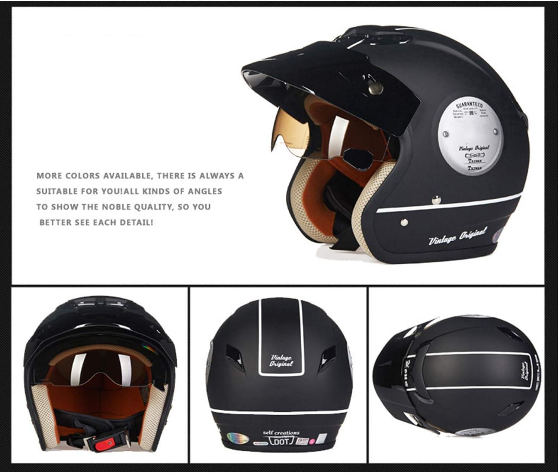 Wuxie Motorrad-Retro-Jet-Helm DOT-Zertifiziert M/änner und Frauen Open Face Pilot Antikollisions-Helm Motorrad mit Sonnenblende Brille,M