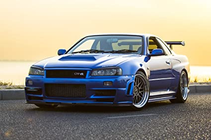 amazon com tst innoprint co nissan skyline r34 gt r silk poster