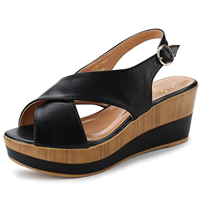 b857e254695 Alexis Leroy Crisscross Buckle Straps Open Toe Casual Platform Wedge  Sandals Black 36 M EU