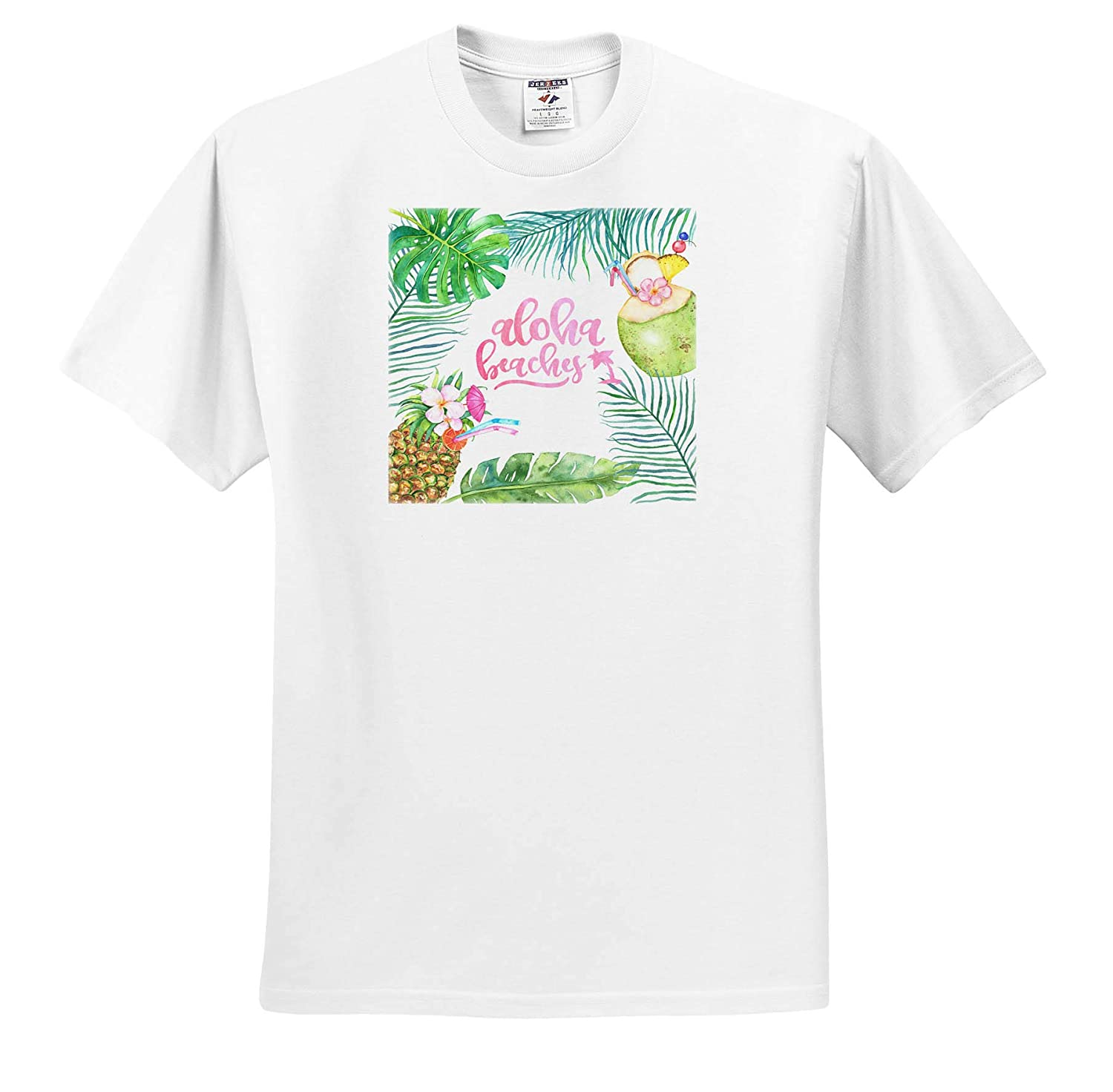 3dRose Uta Naumann Sayings and Typography Summer Tropical Holiday Typography Aloha Beaches T-Shirts