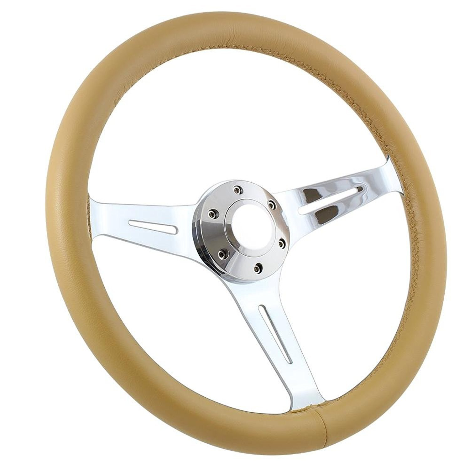 Forever Sharp Black Leather 380mm 5 Hole Steering Wheel with Chrome Spokes and Horn Button