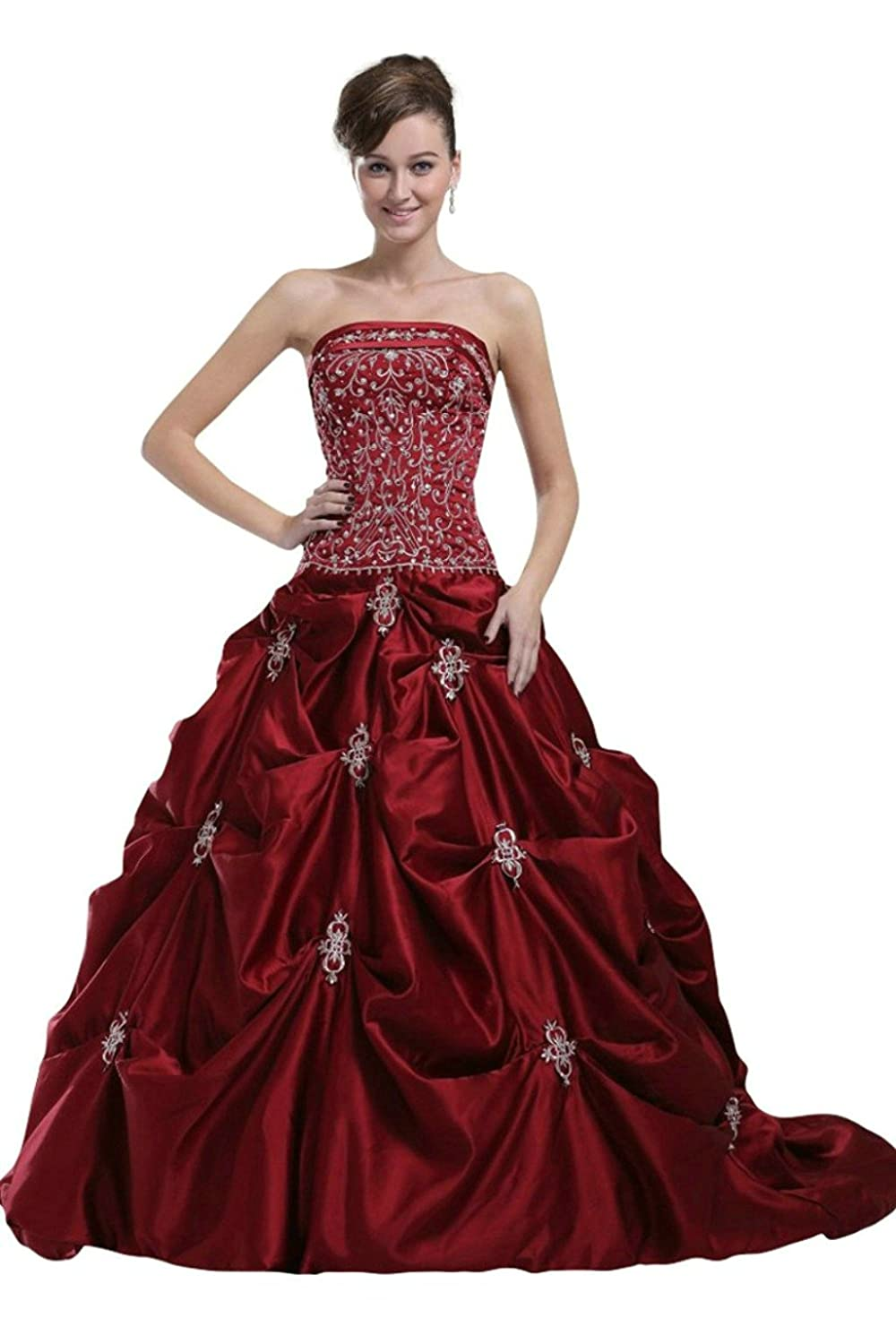 Vantexi Women's Embroidery Burgundy Wedding Dress Bridal Gown