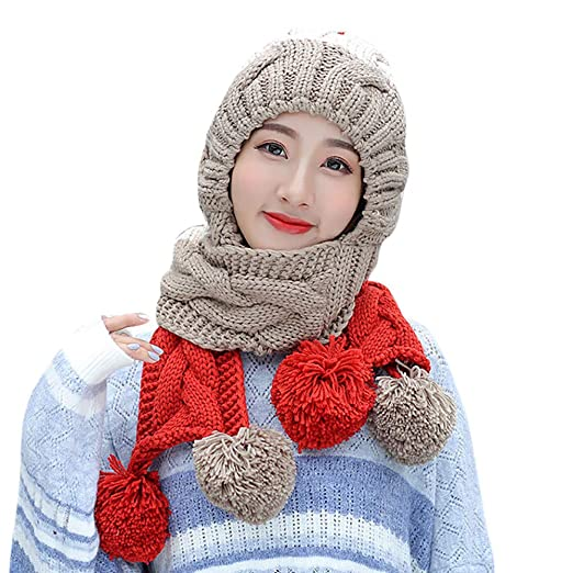 42f5b7c0fd58f Image Unavailable. Image not available for. Color  Adult Women Men Winter  Earmuffs Knit Hat Scarf Hairball Warm Cap