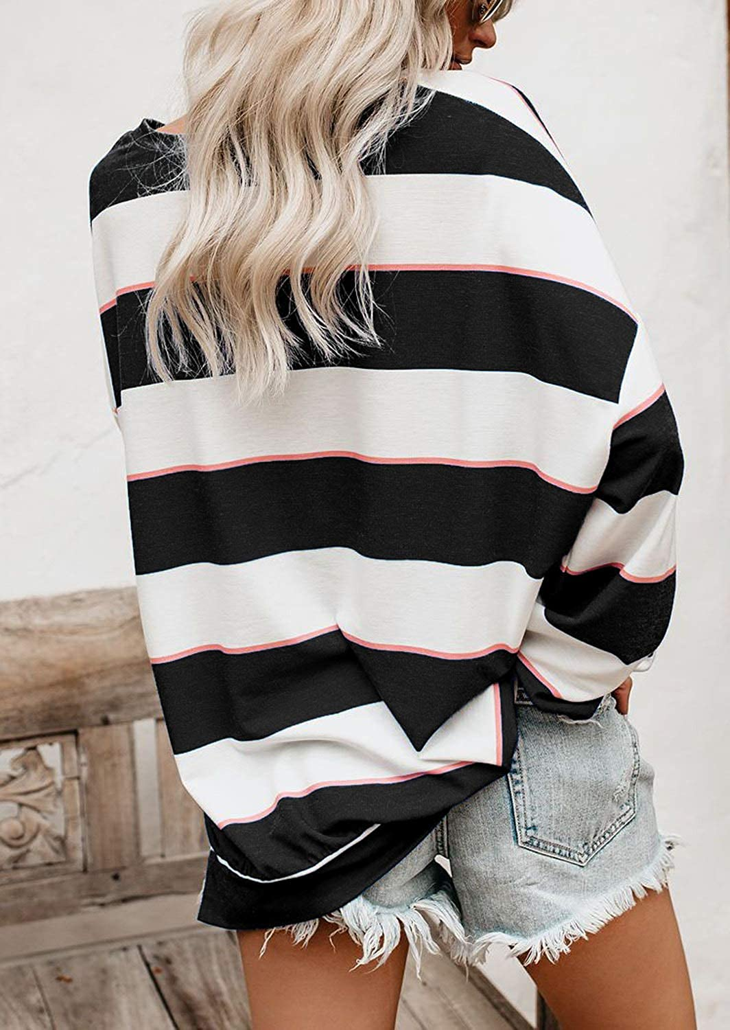 Adreamly Women Casual Crew Neck Long Sleeve Colorful Striped Pullover Loose Top