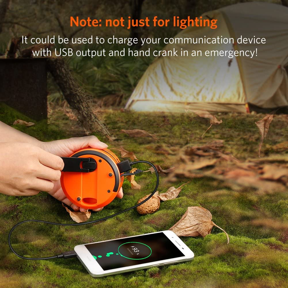 ThorFire LED Camping Lantern Lights Hand Crank USB Rechargeable Lanterns Collapsible Mini Flashlight Emergency Torch Night Light Tent Lamp for Camping Hiking Tent Garden Patio - CL01: Sports & Outdoors