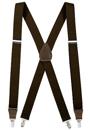 Black New Mens Elastic Suspenders Leather Braces X-Back Adjustable Clip-on