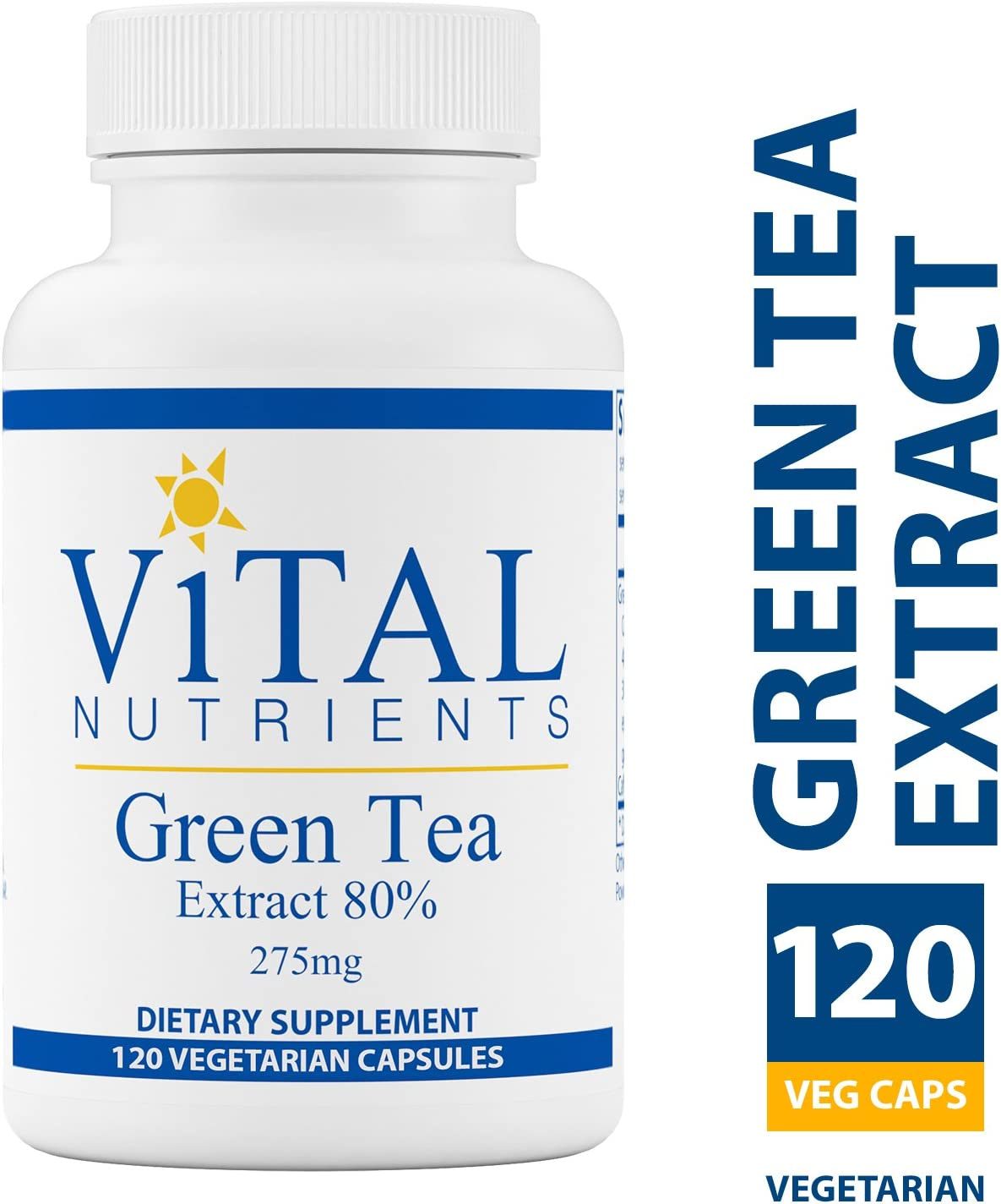 Vital Nutrients – Green Tea Extract 275 mg – Potent Antioxidant Immune Enhancer – 120 Vegetarian Capsules per Bottle