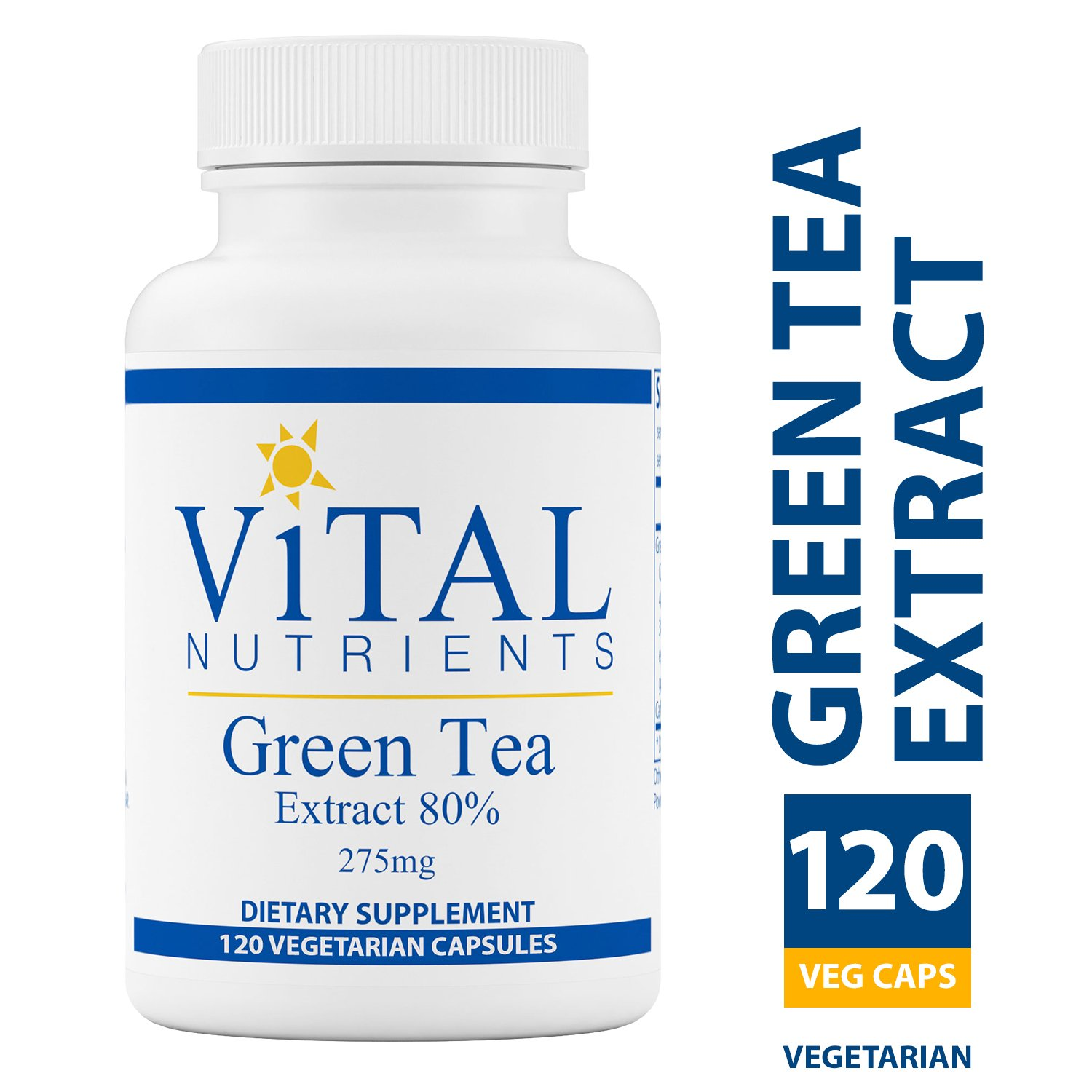 Vital Nutrients - Green Tea Extract 275 mg - Potent Antioxidant & Immune Enhancer - 120 Capsules
